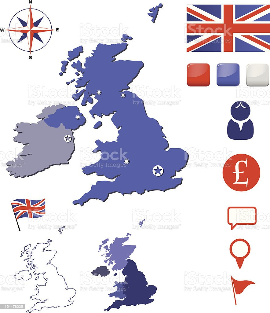 United Kingdom map and icons set royalty-free stock vector art