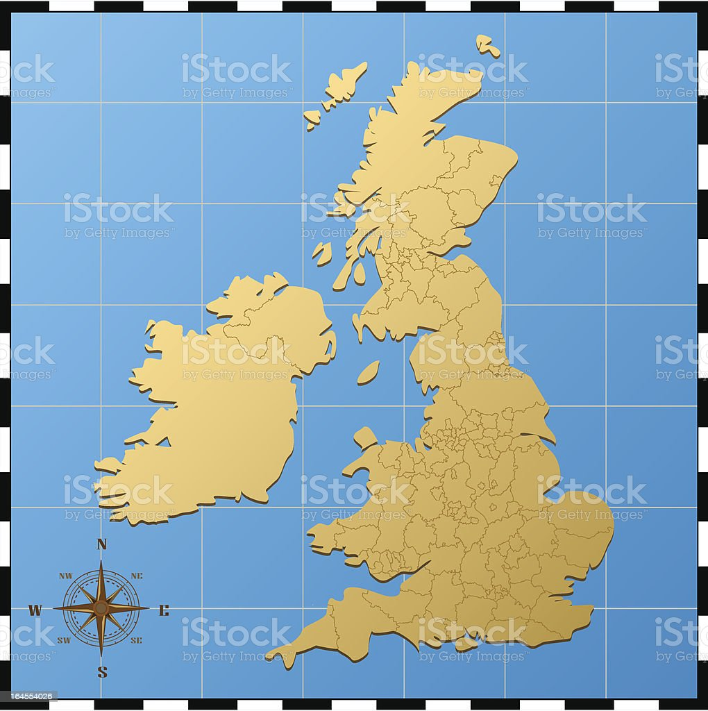 united kingdom map with compass rose stock vector art & more images