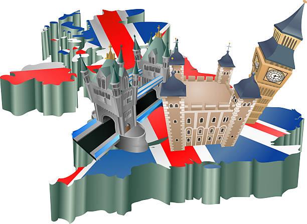 英国観光 - イギリスの国旗点のイラスト素材/クリップアート素材/マンガ素材/アイコン素材