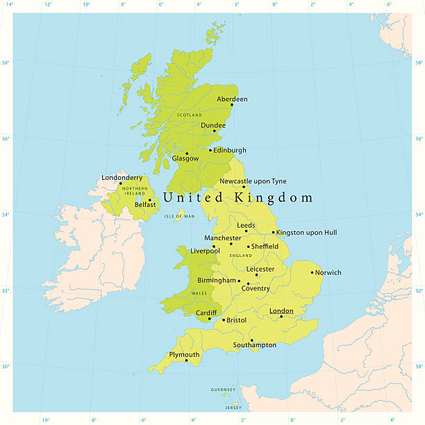 """United Kingdom Vector Map """"Highly detailed vector map of the United Kingdom. File was created on November 2, 2011. The colors in the .eps-file are ready for print (CMYK). Included files: EPS (v8) and Hi-Res JPG."""" vector map green stock illustrations"""
