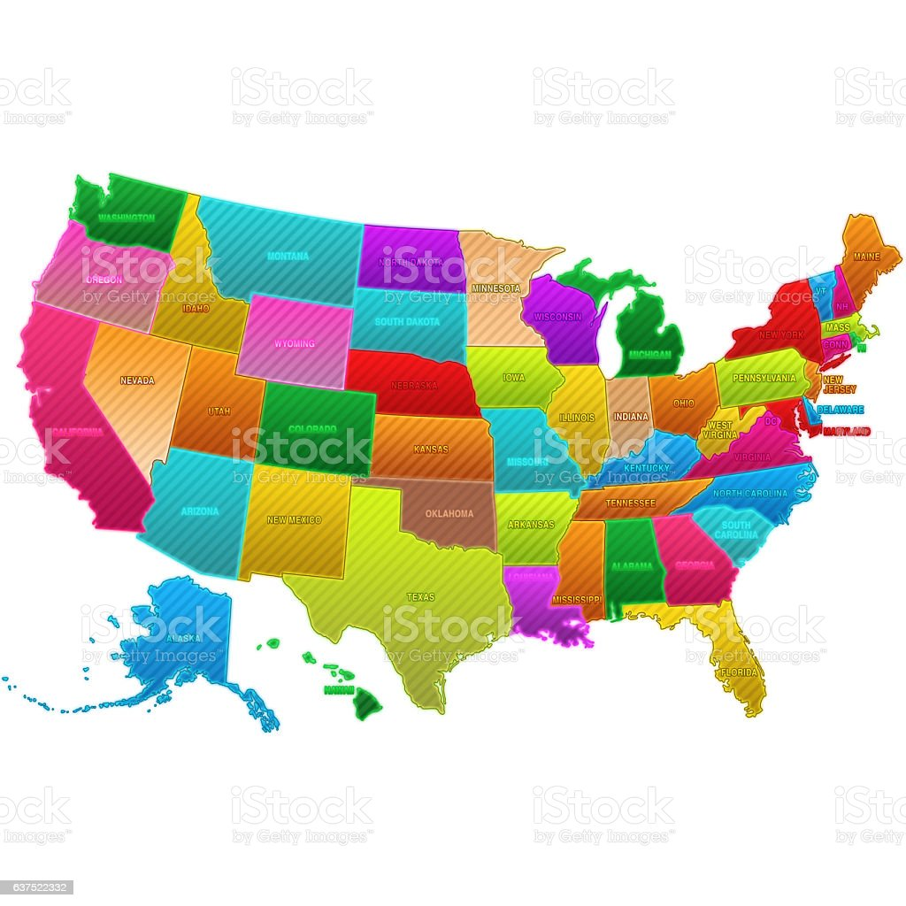 Colored Map Of The Us.United State Colored Map Stock Vector Art More Images Of Alaska