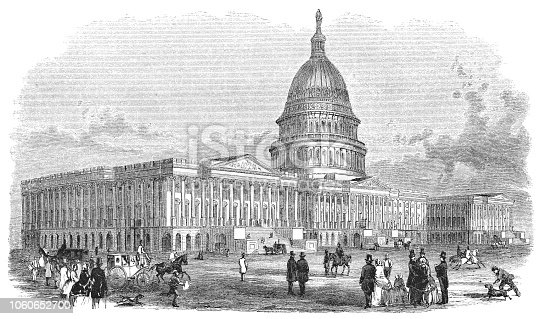 United States Capitol Building in Washington D.C. the capital of the United States of America (circa mid 19th century). Vintage etching circa mid 19th century.