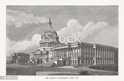 Historical view of the United States Capitol in Washington, D.C. - the home of the United States Congress and the seat of the legislative branch of the U.S. federal government. Wood engraving, published in 1886.