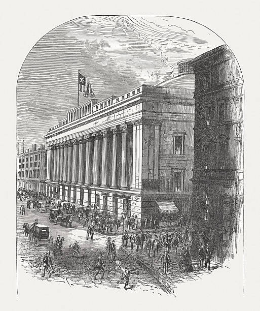 United States Custom House, Wall Street, New York, published 1880 The former United States Custom House in New York (55 Wall Street), built by Boston architect Isaiah Rogers in 1836 - 1842. The later headquarters of National City Bank, in 1899 got at a structural extension its current appearance. Wood engraving, published in 1880. wall street stock illustrations