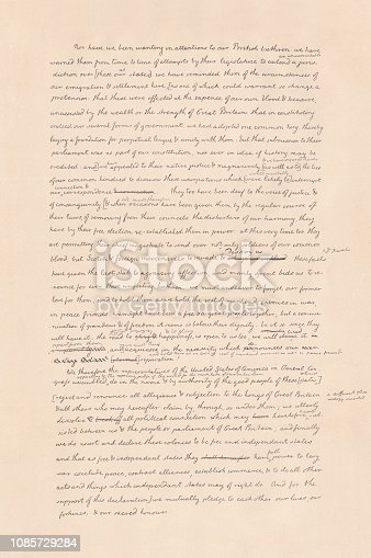 Facsimile of the last page of the original draft Declaration of Independence of the United States of America. Written by Thomas Jefferson. Signed on July 4, 1776 (The definitive copy on parchment was signed on August 2, 1776, and is filed in the National Archives and Records Administration, Washington D.C.). Published in 1886.