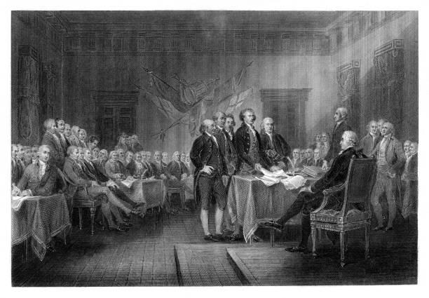 stockillustraties, clipart, cartoons en iconen met de verklaring van verenigde staten van onafhankelijkheid in philadelphia pennsylvania 1776 - 18e eeuw