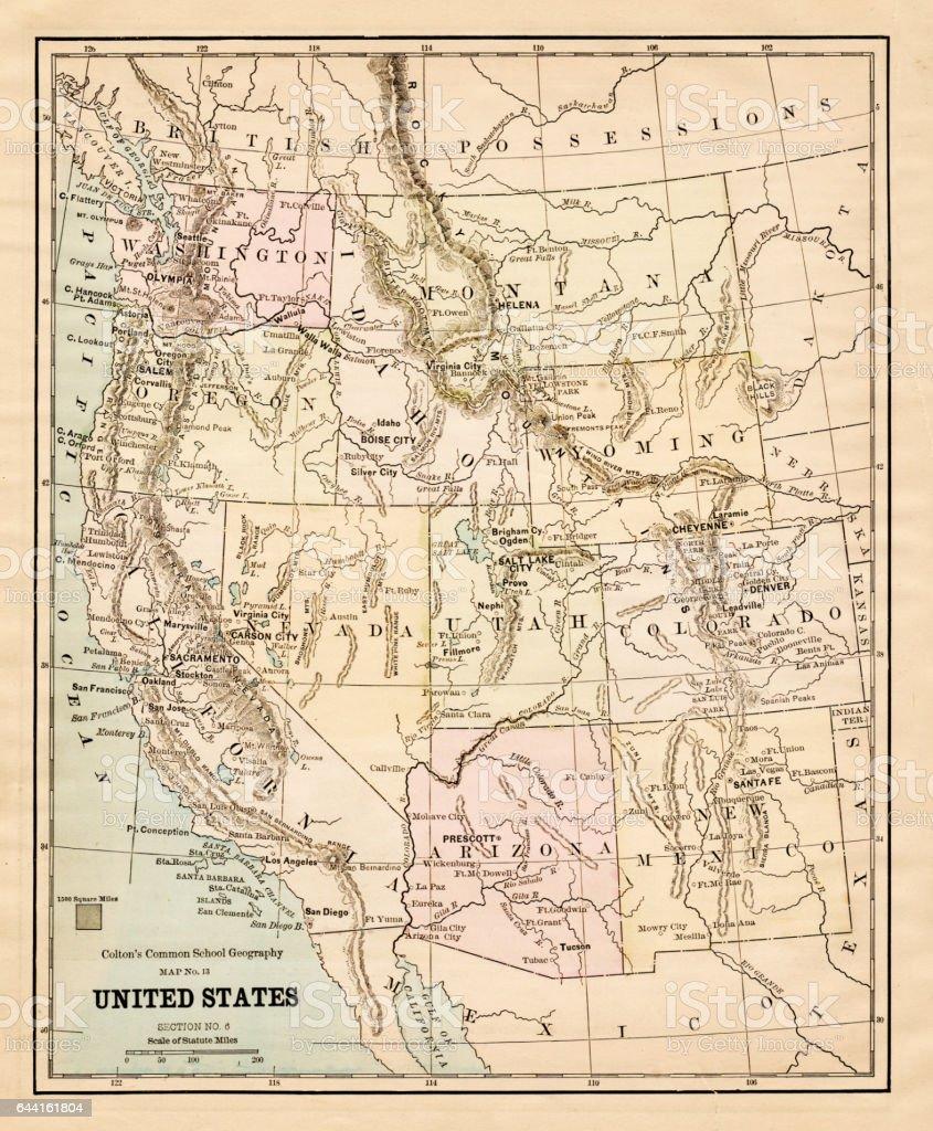 United States Map 1881 - Stockowe grafiki wrowe i więcej obrazów on