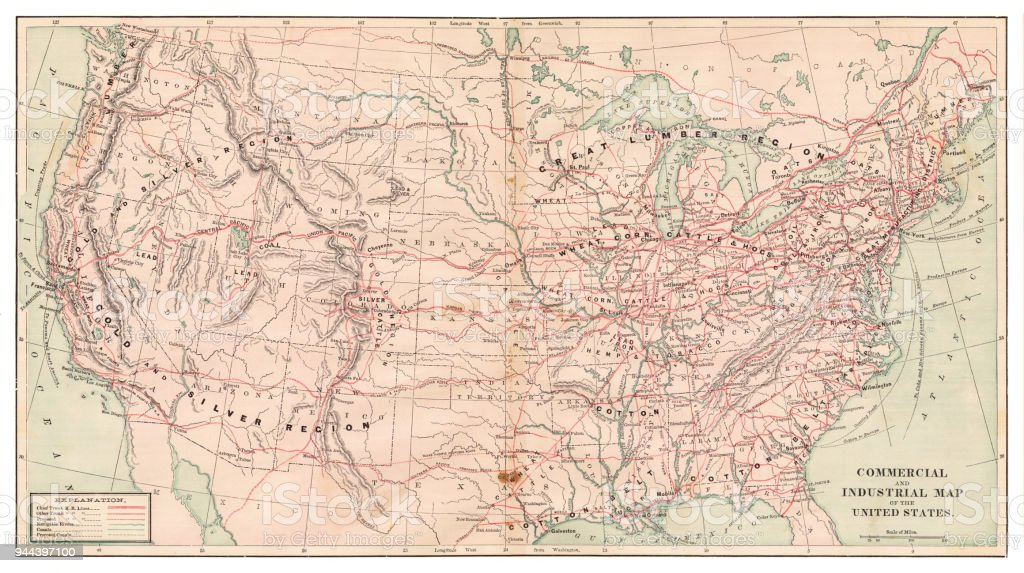 United States Map 1881 Stock Illustration - Download Image Now