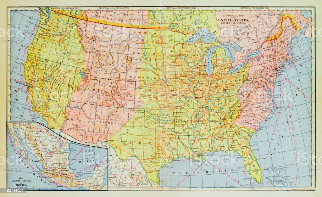 1883 United States Map vector art illustration