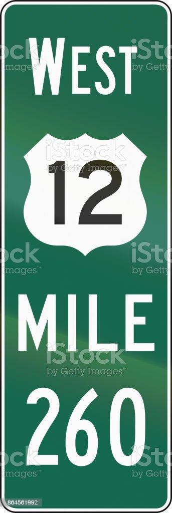 United States MUTCD road sign - Distance road marker vector art illustration
