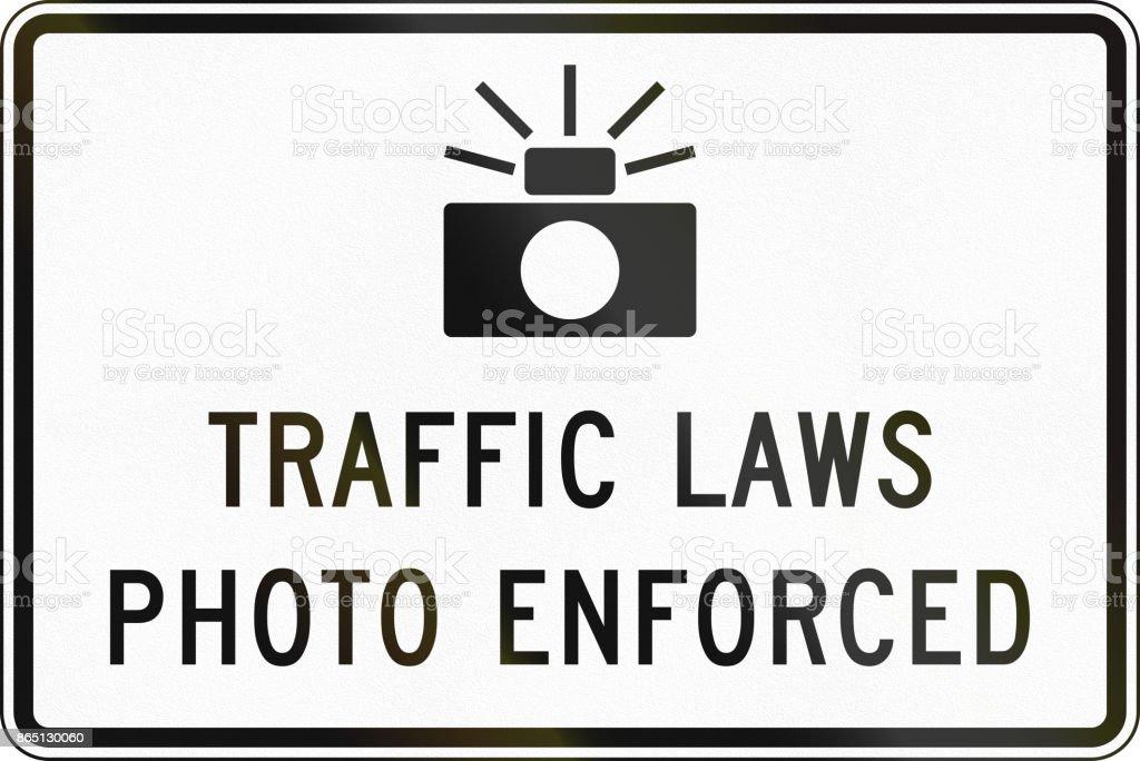 United States MUTCD road sign - Traffic laws photo enforced vector art illustration