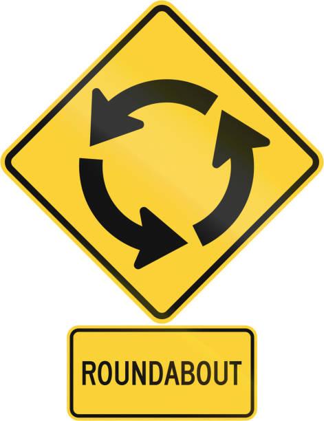 illustrations, cliparts, dessins animés et icônes de united states mutcd route avertissement signe l'assemblée - rond point