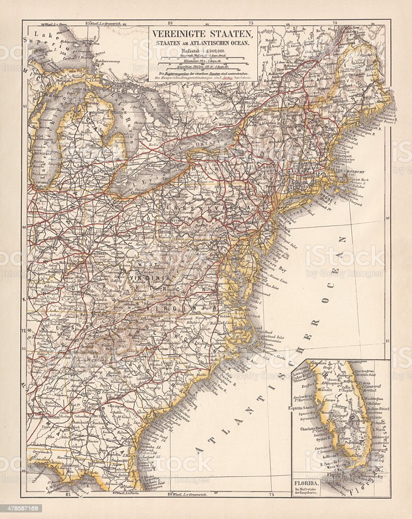 United States of America, Atlantic coast, lithograph, published in 1878 vector art illustration