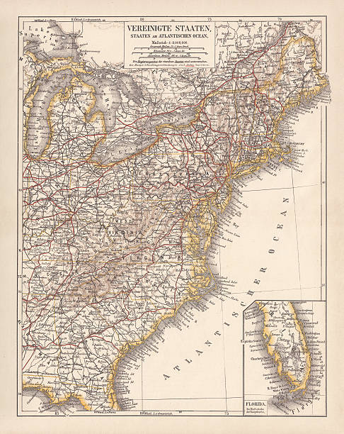 united states of america, atlantic coast, lithograph, published in 1878 - lake superior stock illustrations, clip art, cartoons, & icons