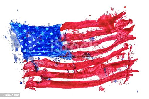 istock United states of America flag painted by hand and watercolors 943365100