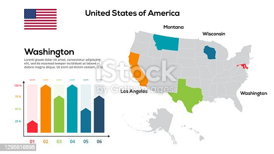istock United States of America map. image of a global map in the form of regions of USA regions. Country flag. Infographic timeline. Easy to edit 1295616898