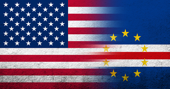 United States of America (USA) national flag with Cape Verde National flag. Grunge background