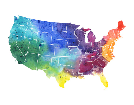United States of America Watercolor Map - Raster Illustration