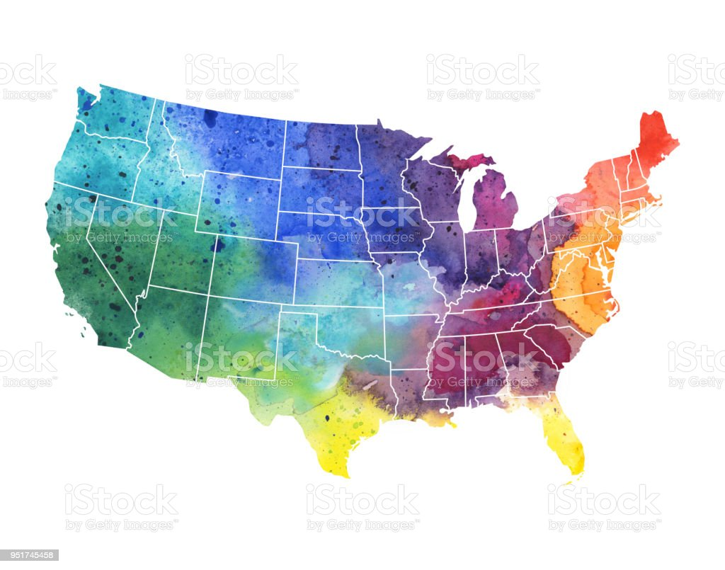 United States of America Watercolor Map - Raster Illustration vector art illustration