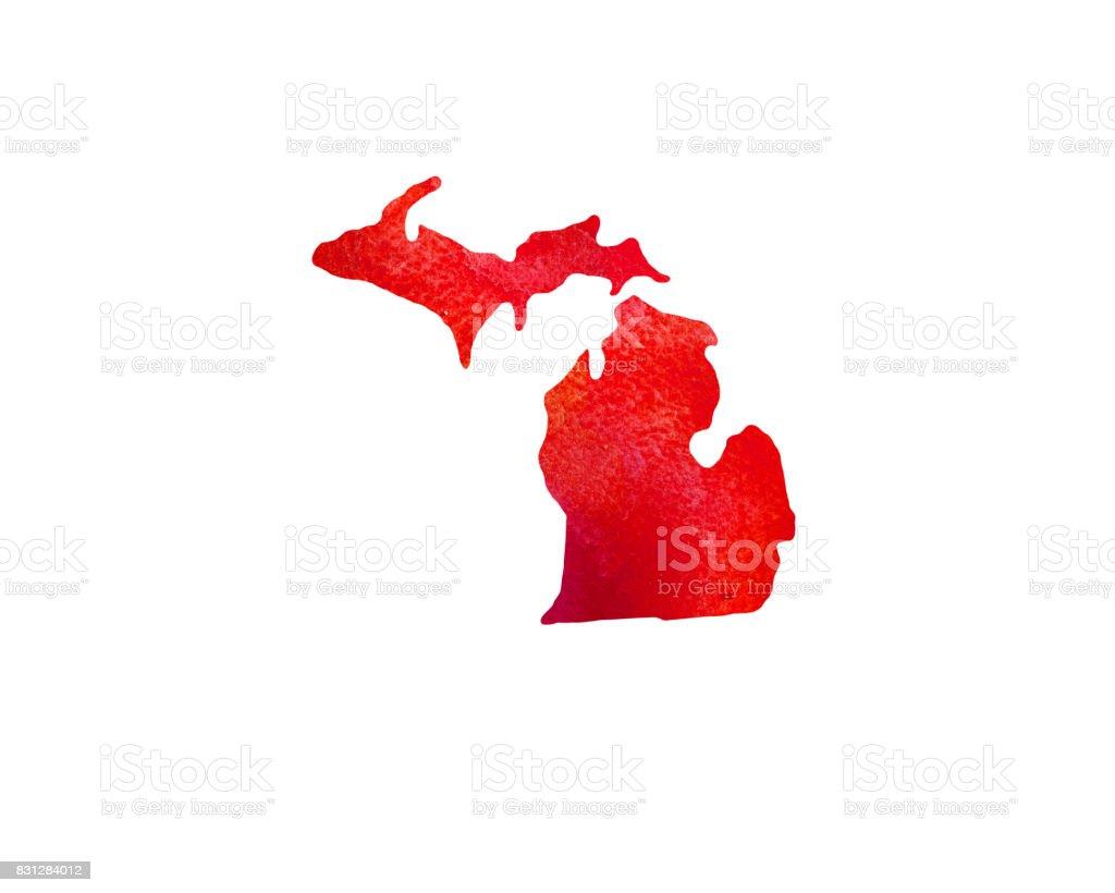 United States Of America. Watercolor texture. Michigan vector art illustration
