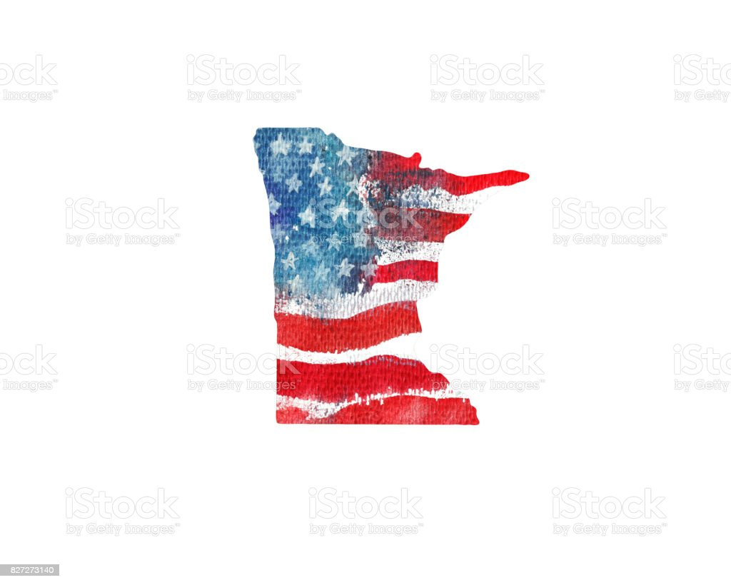 United States Of America. Watercolor texture of American flag. California. vector art illustration