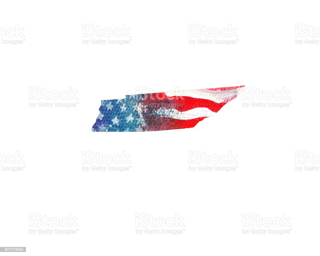 United States Of America Watercolor Texture Of American Flag