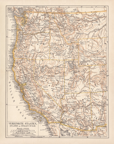 United States of America, States on the Pacific Ocean. Lithograph, published in 1878.