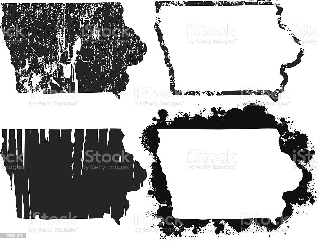 United States of Grunge - Iowa vector art illustration