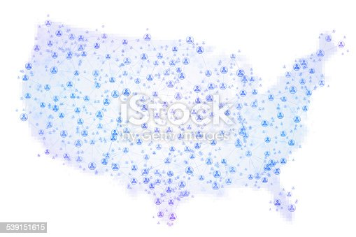 Abstract map of the United States of America covered by a social network composed of blue people symbols connected together at various sizes and depths on a white background with pixelated borders. Futuristic north american computer and social network background.
