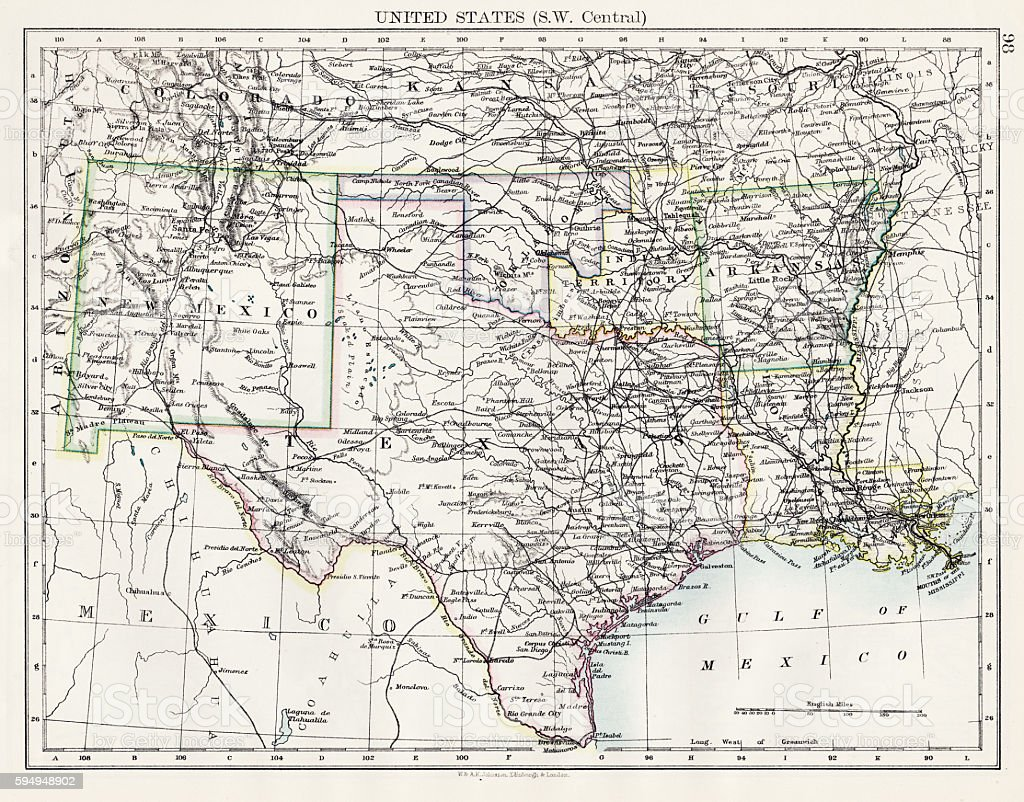 United States South West Central map 1897 vector art illustration