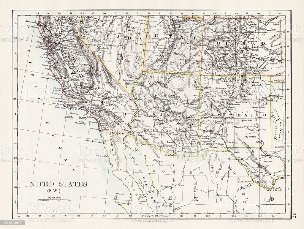 United States South West Map 1897 Stock Illustration ...