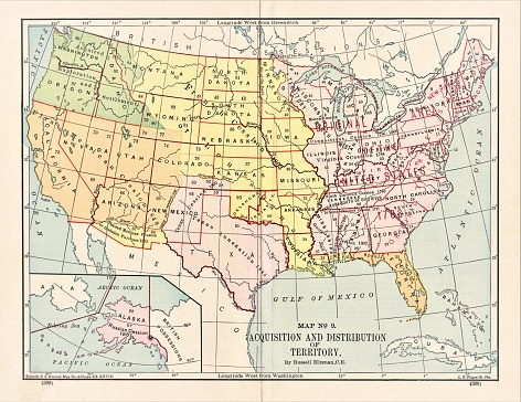 Map of acquisition and distribution of land in the United States prior to 1890. Illustration published in The New Eclectic History of the United States by M. E. Thalheimer (American Book Company; New York, Cincinnati, and Chicago) in 1881 and 1890. Copyright expired; artwork is in Public Domain.