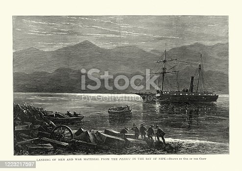 Vintage illustration of Unloading weapons from the Perrit in the Bay of Nipe. The Ten Years' War (Spanish: Guerra de los Diez Años) (1868–1878), also known as the Great War (Guerra Grande) and the War of '68, was part of Cuba's fight for independence from Spain.