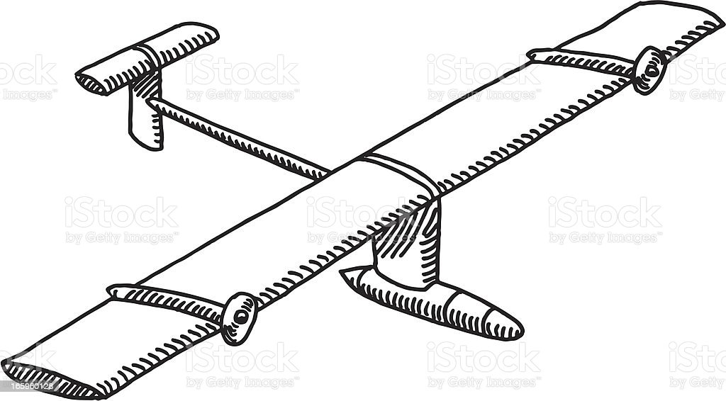 Unmanned Aerial Vehicle Drawing vector art illustration