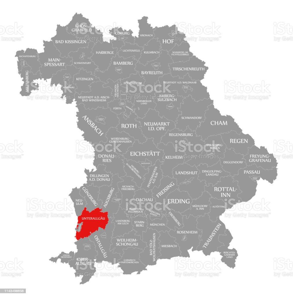 Landkreis Würzburg Karte.Unterallgäu Landkreis Rot In Der Karte Von Bayern Deutschland