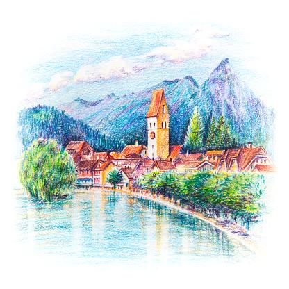 Unterseen Interlaken Shurch, Switzerland