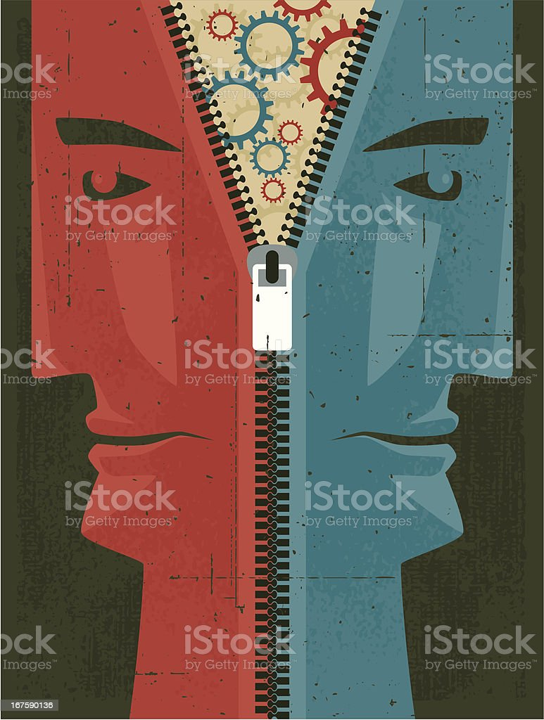 unzipped faces with cogs silhouette royalty-free stock vector art