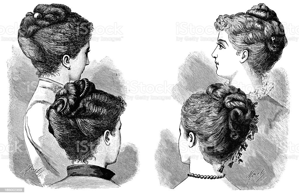 Updo Hairstyles Victorian Engraving Stock Illustration