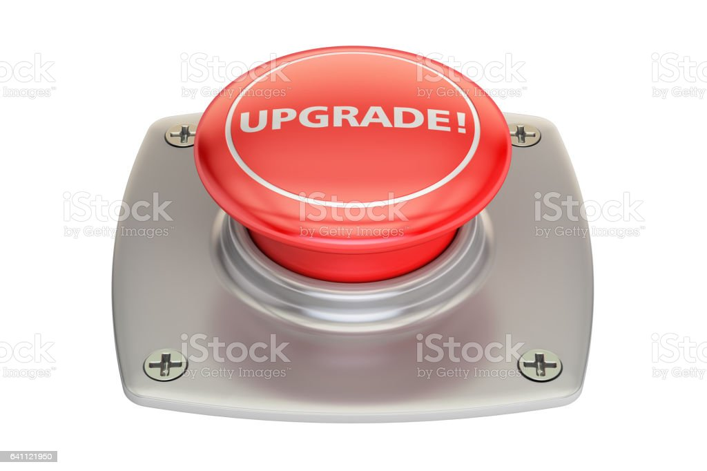 Upgrade red button, 3D rendering isolated on white background vector art illustration