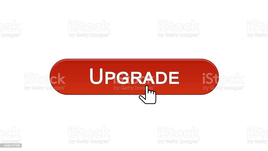 Upgrade Web Interface Button Clicked With Mouse Cursor Wine Red Color Update Royalty