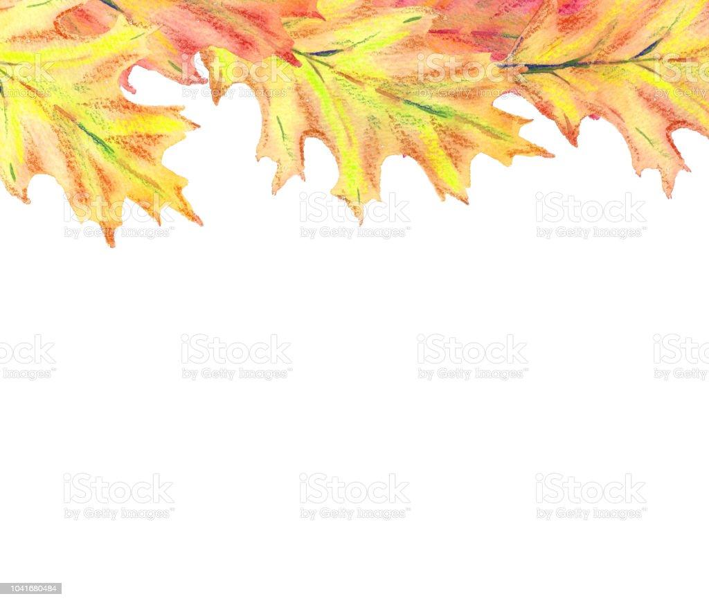 Sulu Boya Renkli Sonbahar üst Sınırdan Bırakır Stok Vektör