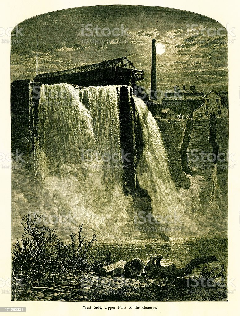 Upper Falls, Portage Canyon, New York | Historic American Illustrations royalty-free stock vector art