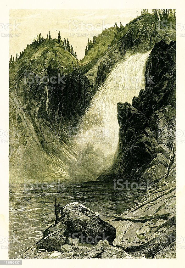 Upper Yellowstone Falls, Wyoming royalty-free upper yellowstone falls wyoming stock vector art & more images of 19th century