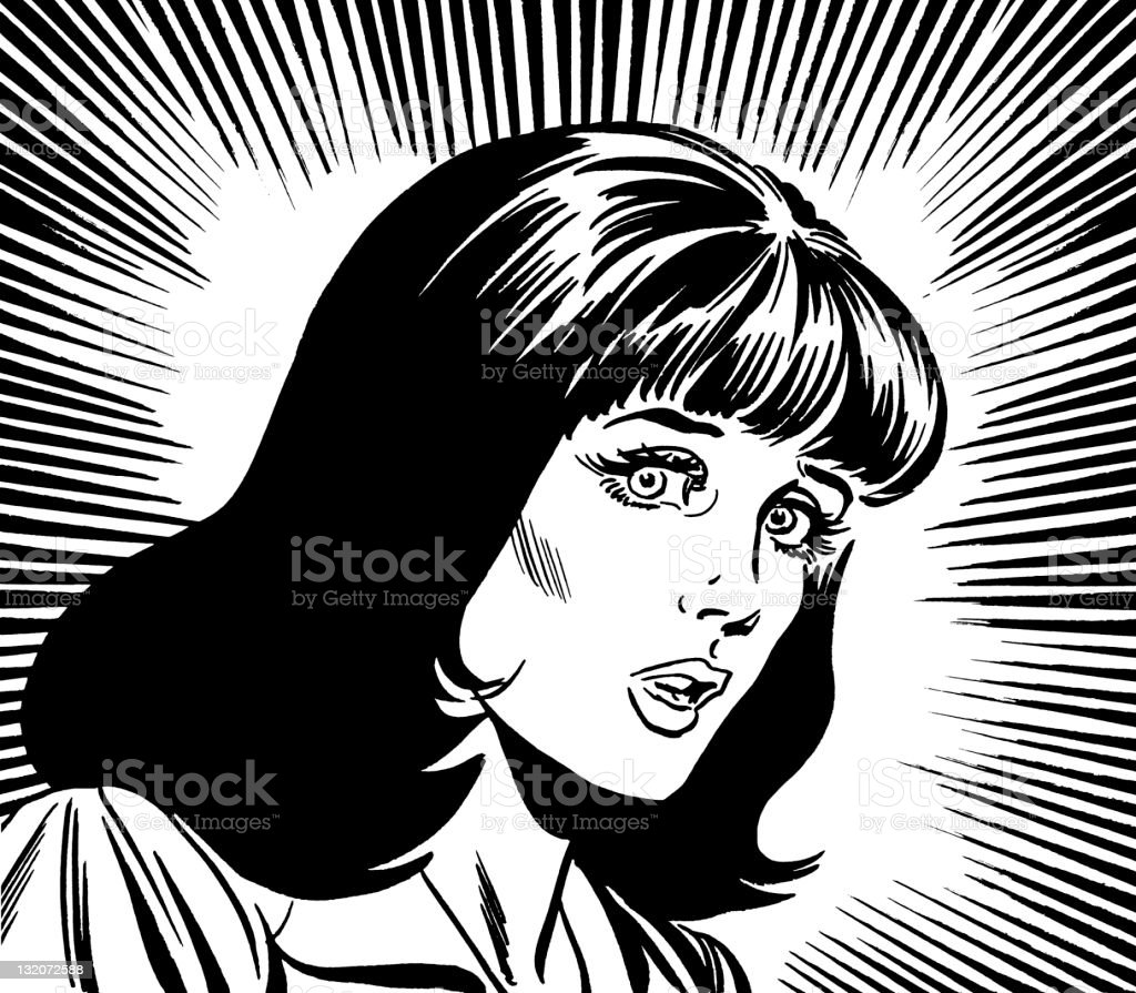 Upset Dark Haired Woman royalty-free stock vector art