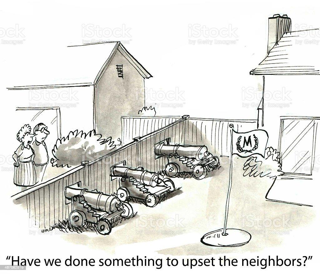 Upset the Neighbors vector art illustration