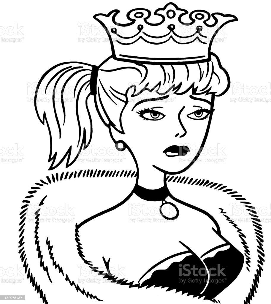 Upset Woman Wearing Crown vector art illustration
