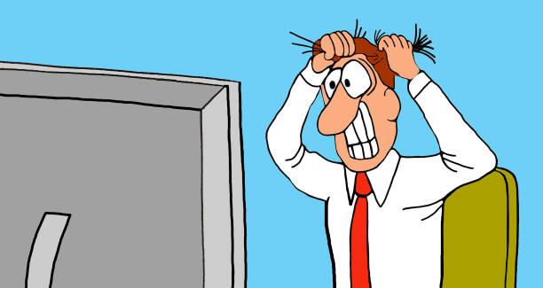 ilustrações de stock, clip art, desenhos animados e ícones de upset worker - puxar cabelos