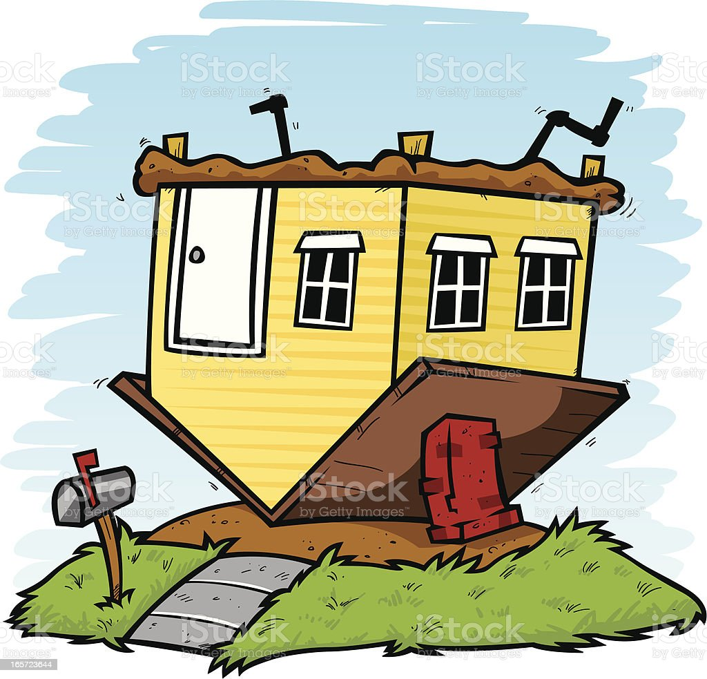 upside down house vector art illustration