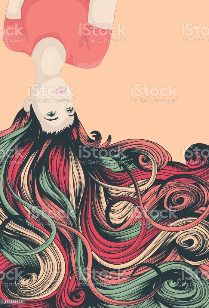 Upside down woman with long detailed flowing hair vector art illustration