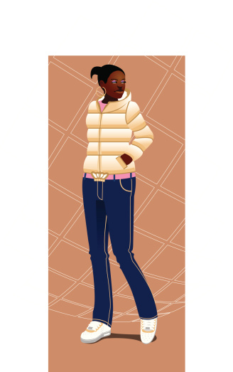 Urban black girl with sneakers and downjacket